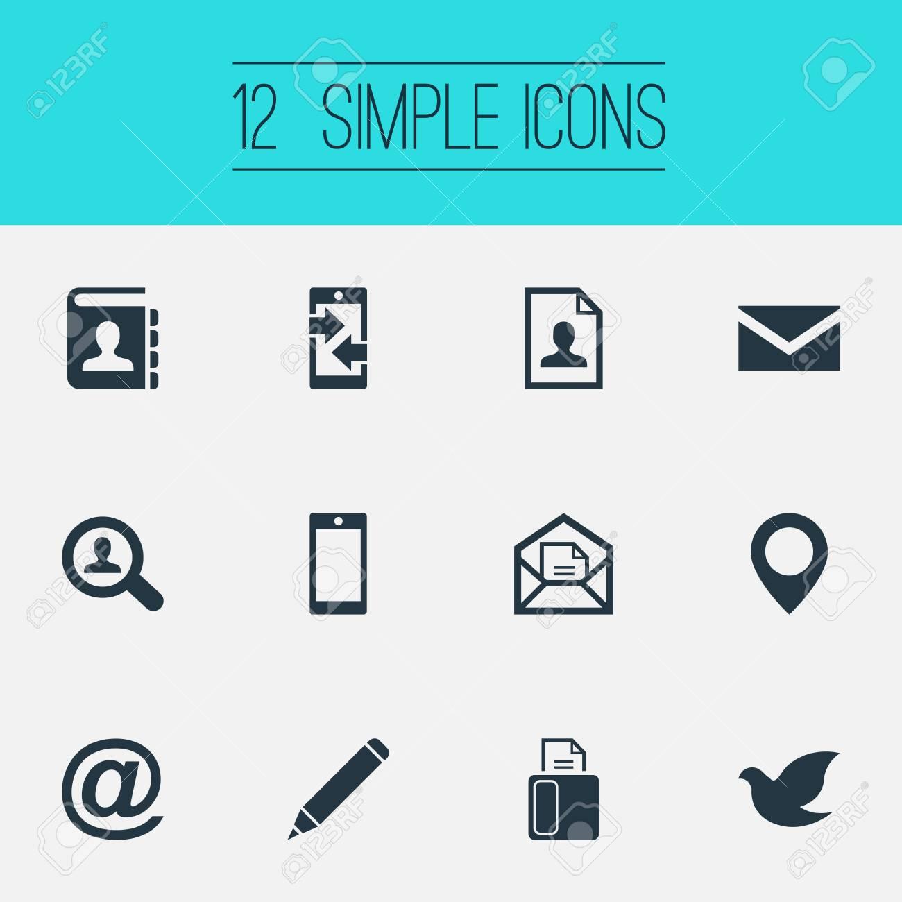 Ilustracion Vectorial Conjunto De Iconos De Comunicacion Simple
