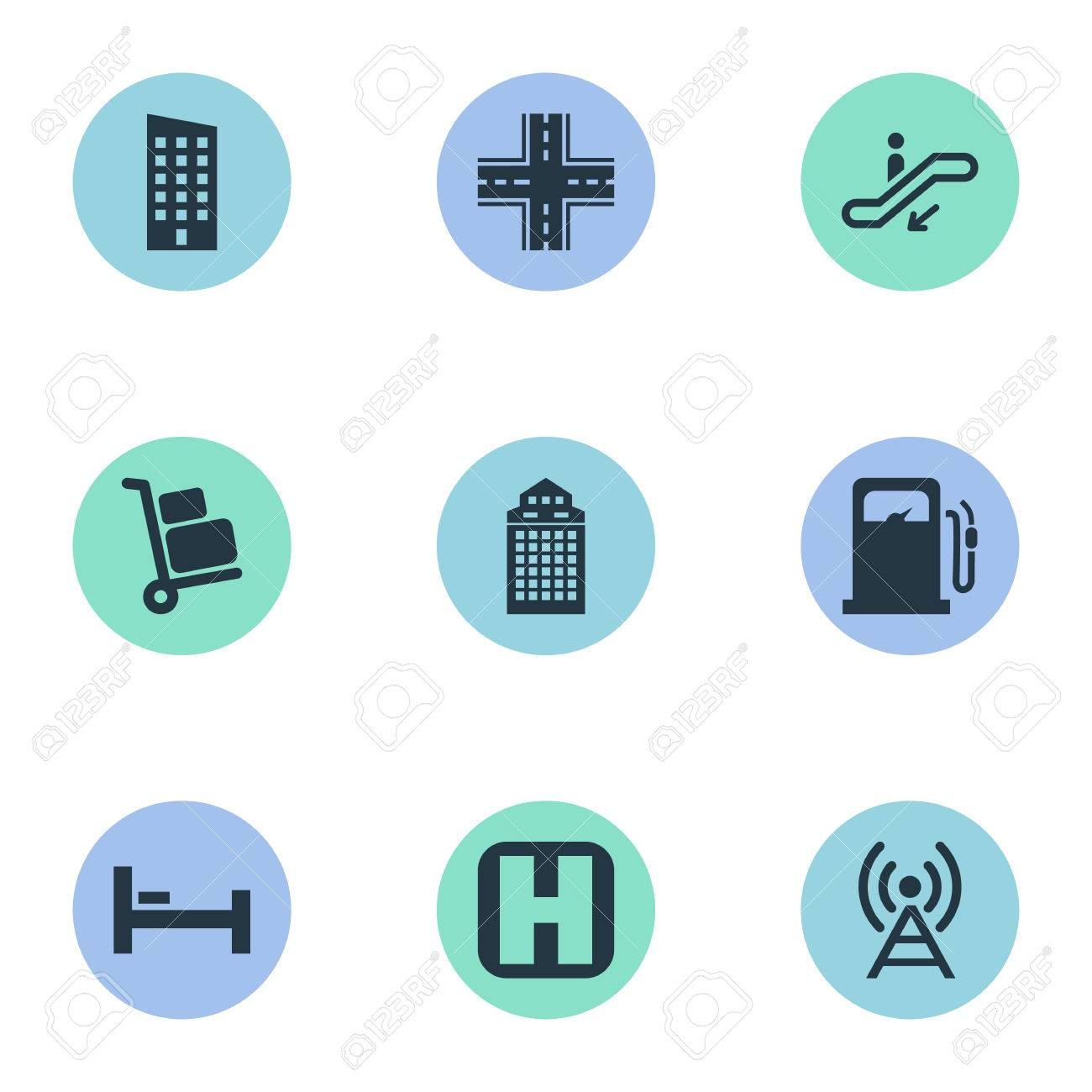 Vector Illustration Set Of Simple City Icons Elements Airport
