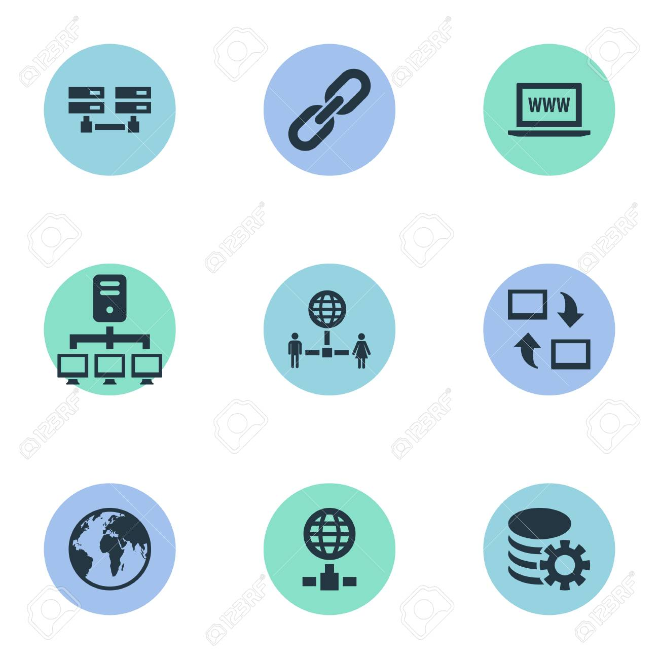 Elements Networking, Website, Database And Other Synonyms Internet, Hyperlink And Computer. Vector Illustration Set Of Simple Web Icons. - 83338610
