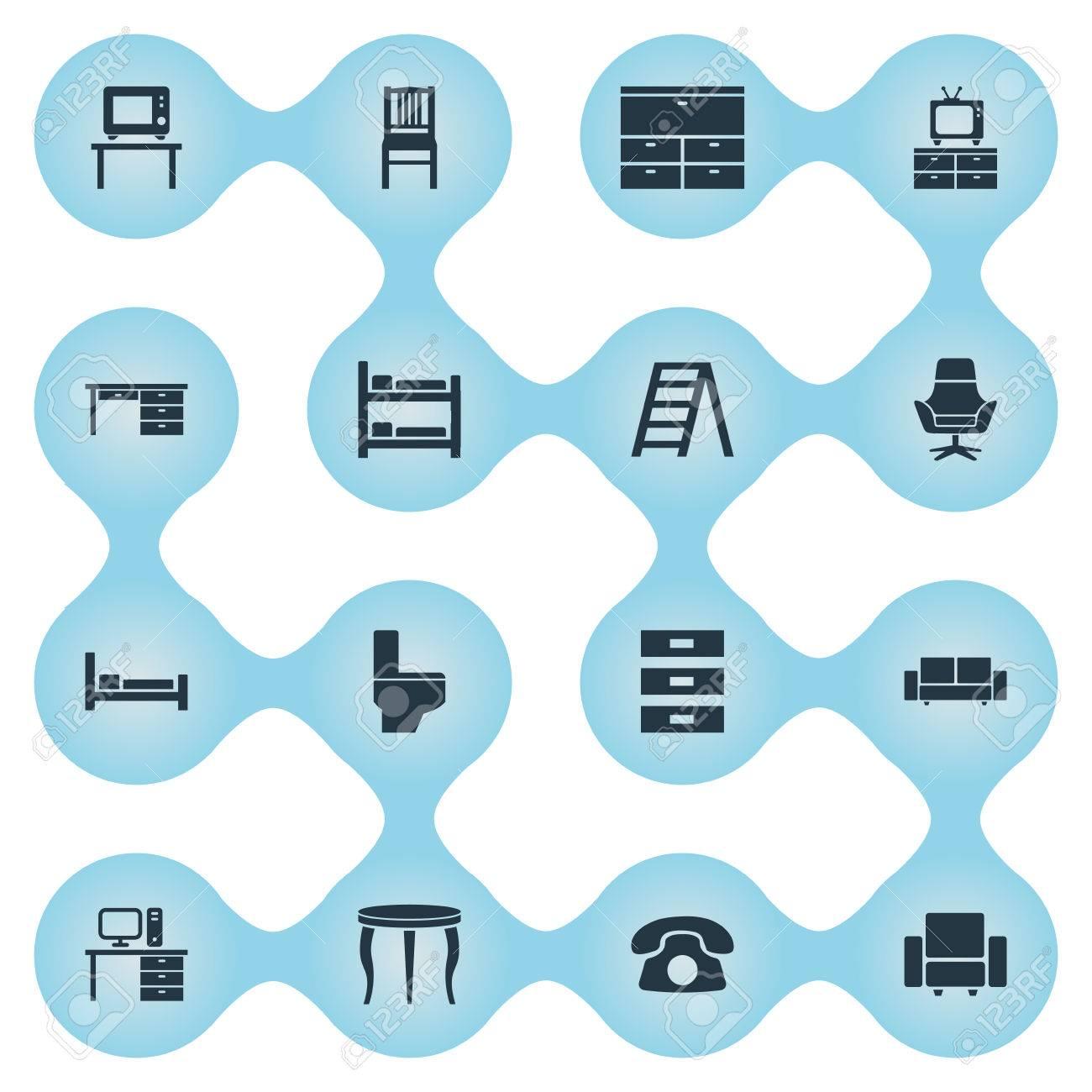 Vektor-Illustration Satz Einfache Möbel-Ikonen. Elemente Stillage ...