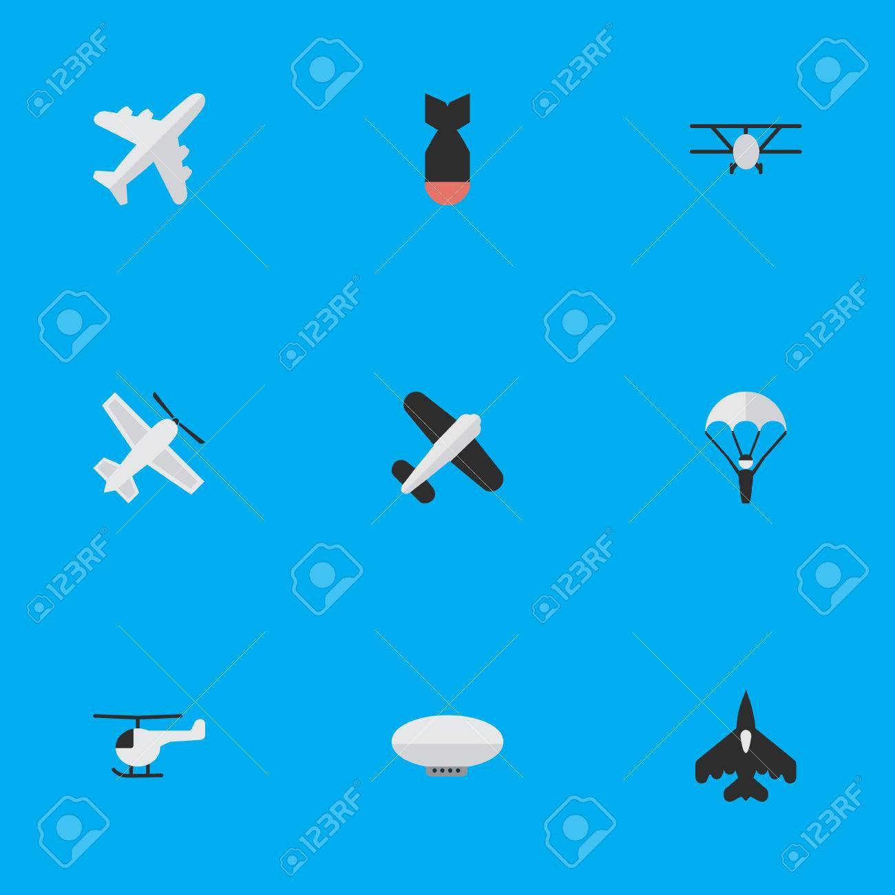 Vector Illustration Set Of Simple Plane Icons Elements Copter