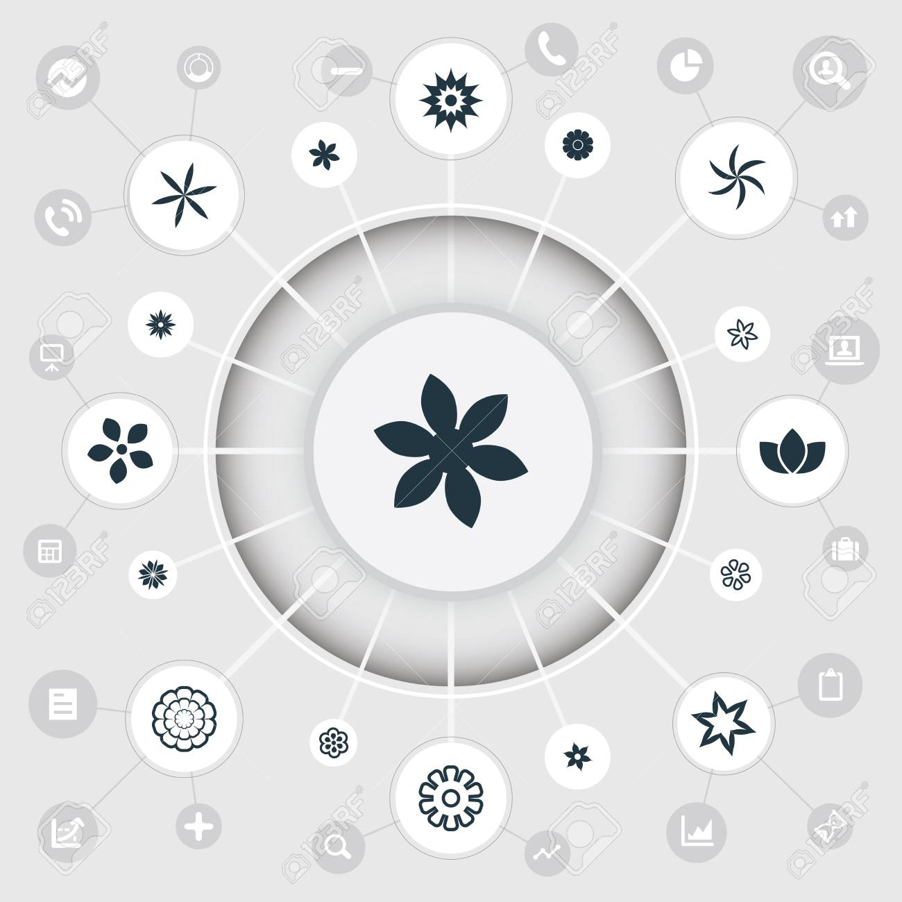 Vector Illustration Set Of Simple Blossom Icons. Elements Bouquet ...