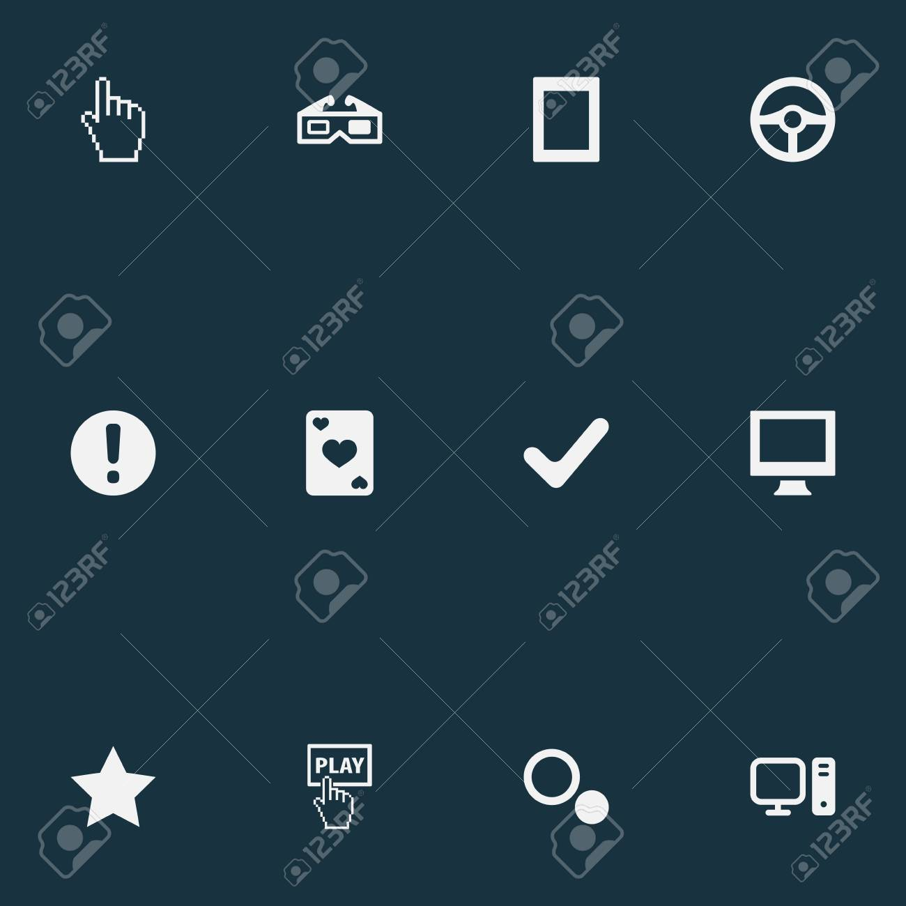Vector Illustration Set Of Simple Game Icons  Elements Monitor,