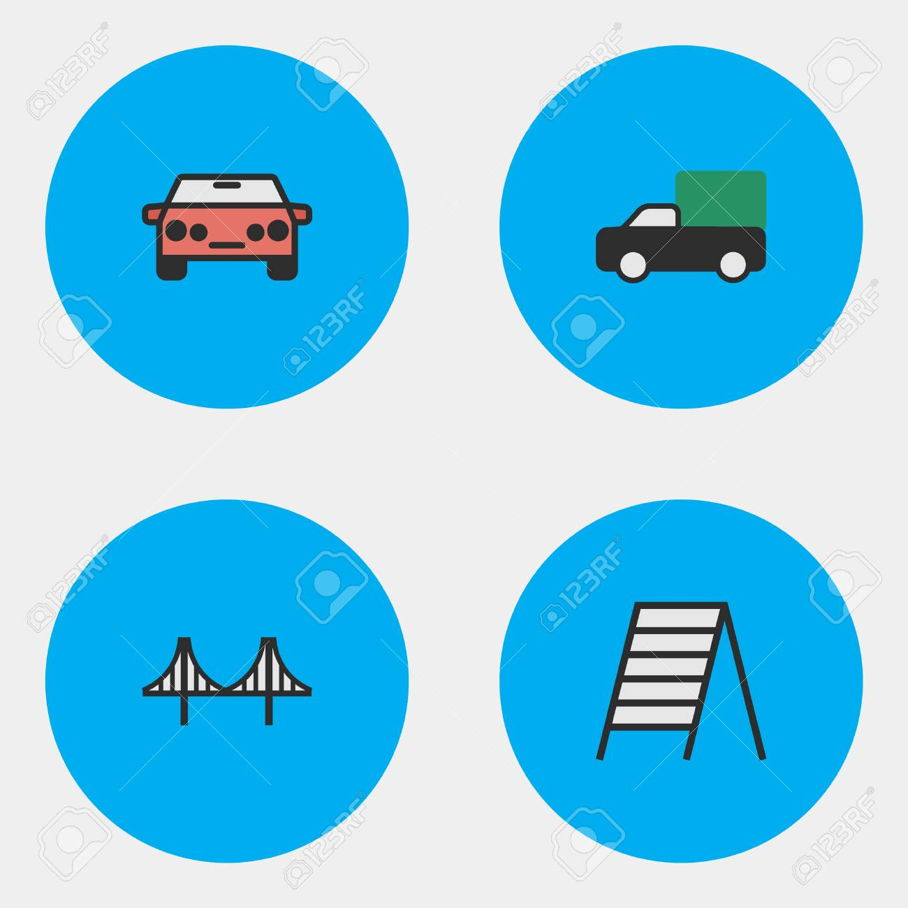 Vector Illustration Set Of Simple Transportation Icons  Elements