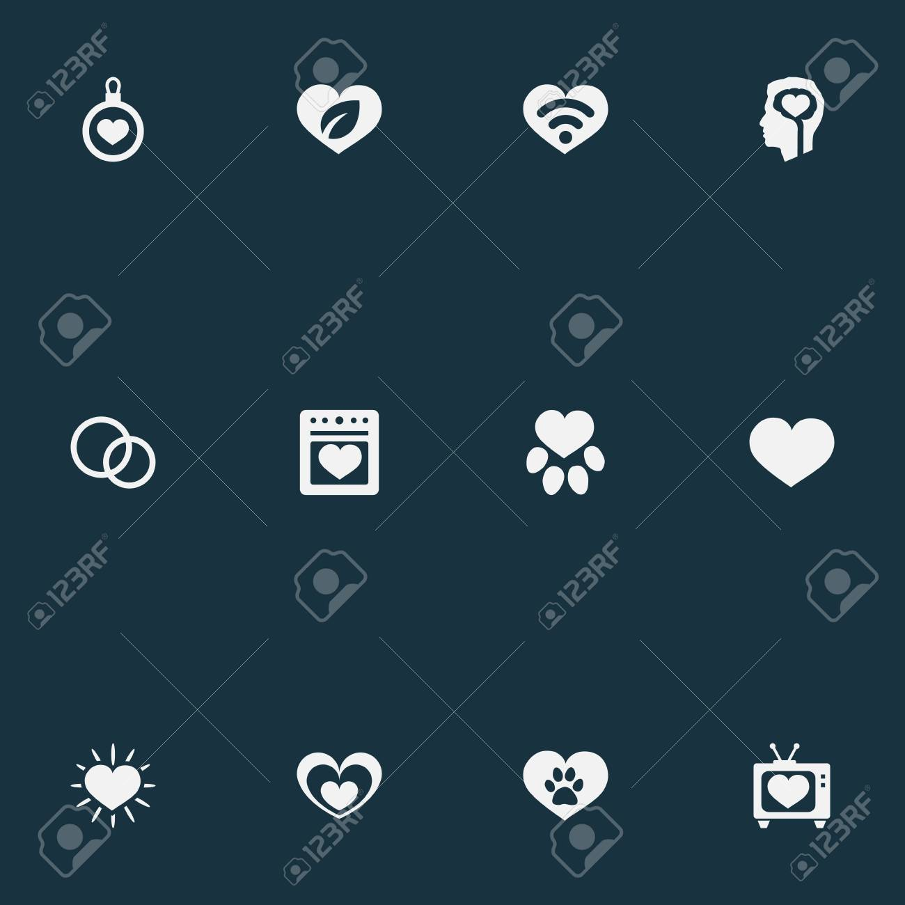 Vector Illustration Set Of Simple Love Icons Elements Decoration