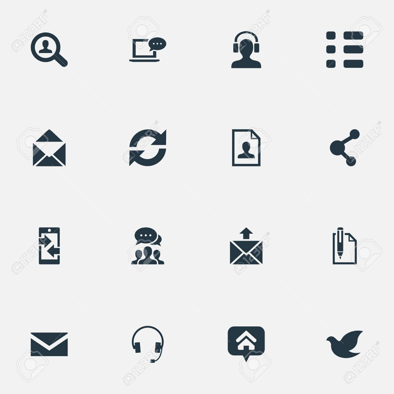 vector illustration set of simple contact icons. elements resume
