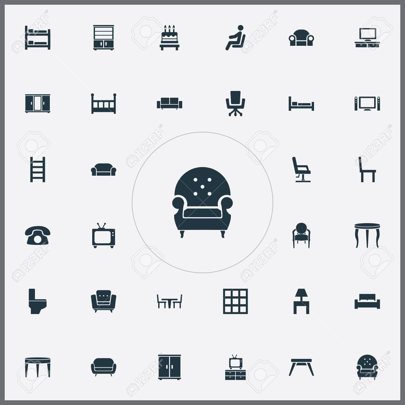 Ilustración Vectorial Conjunto De Iconos De Muebles Simples ...