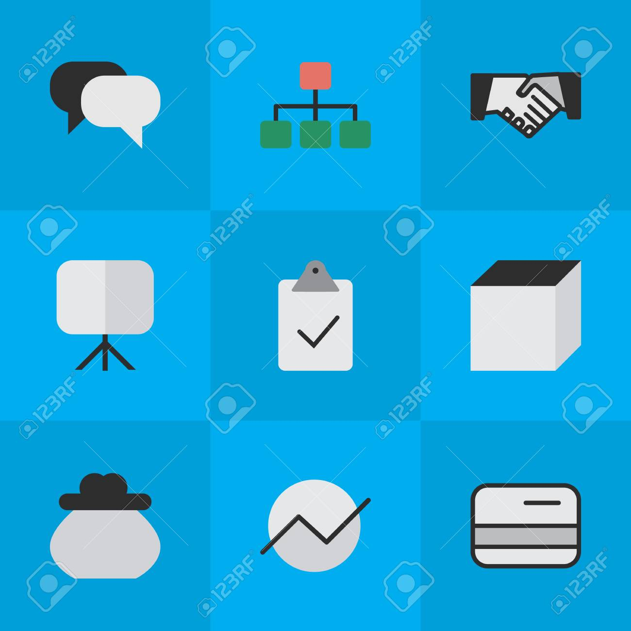 vector - vector illustration set of simple job icons  elements done, diagram,  talking and other synonyms pay, square and conversation