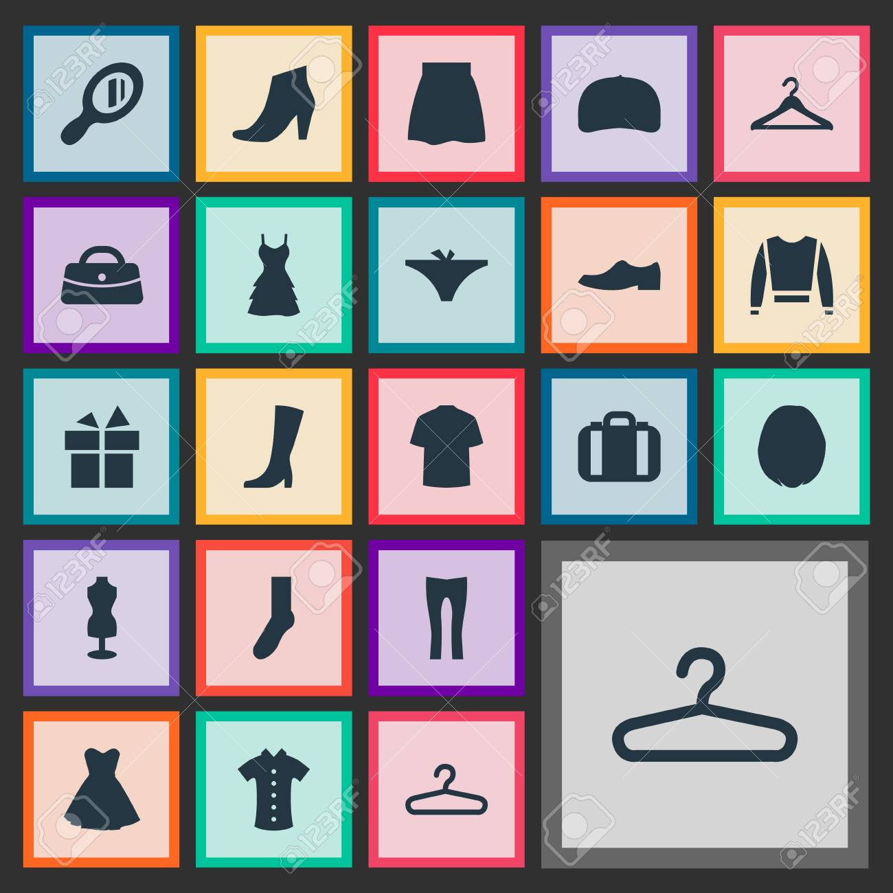 Vector Illustration Set Of Simple Dress Icons. Elements Present,..