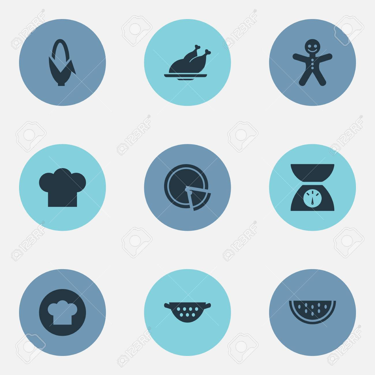 Vector Illustration Set Of Simple Kitchen Icons. Elements Scales ...