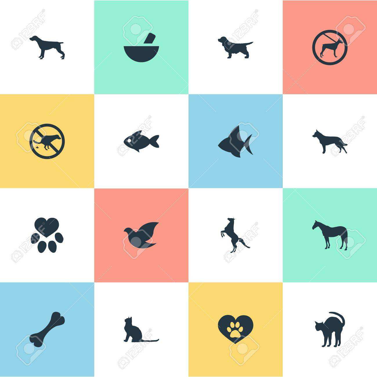 Vector Illustration Set Of Simple Zoo Icons  Elements Stallion,