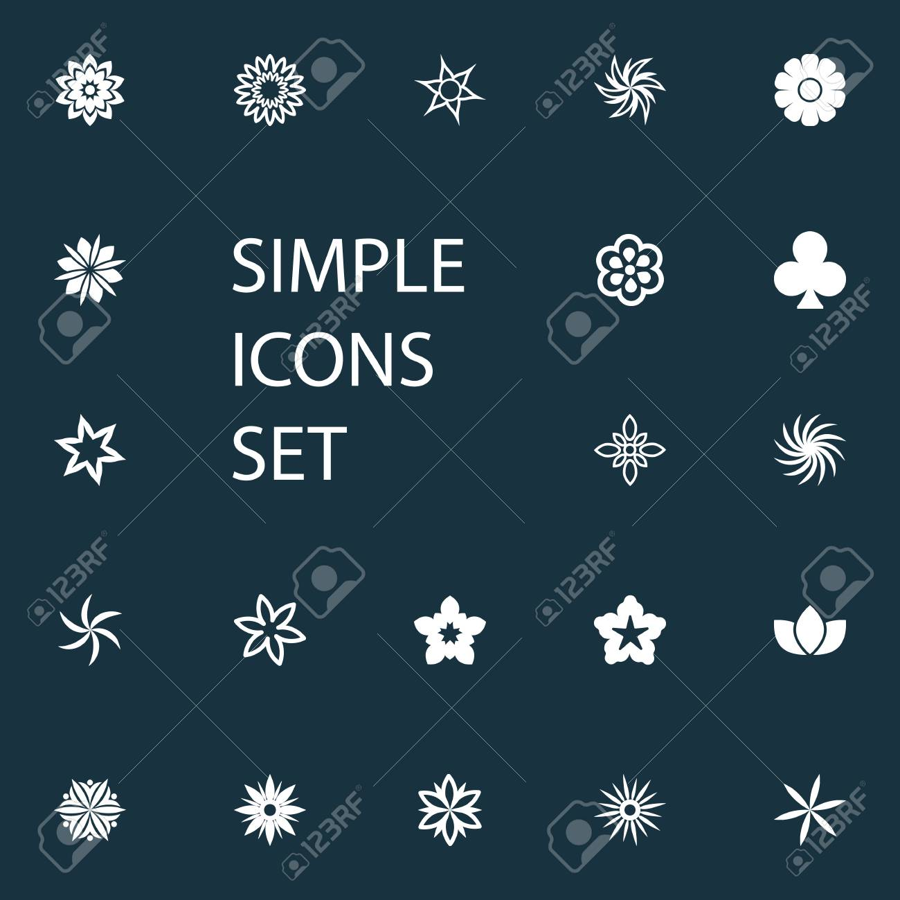 Vector Illustration Set Of Simple Icons. Elements Flower, Helianthus ...