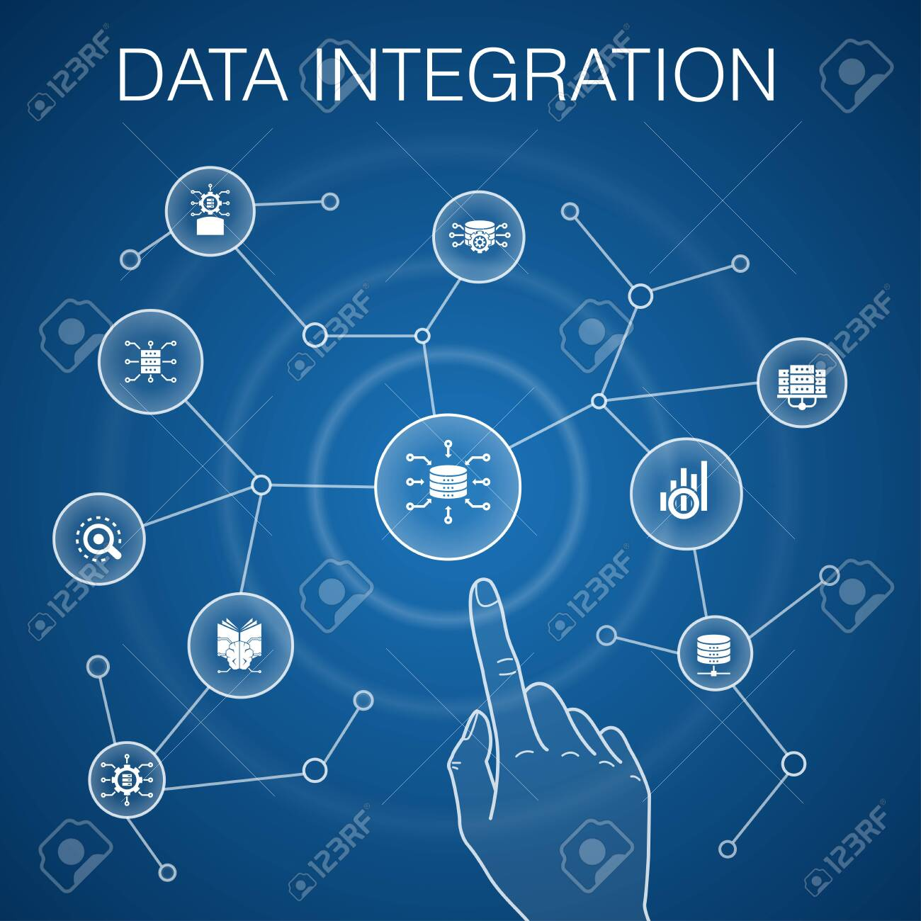 Data integration concept, blue background.database, data scientist, Analytics, Machine Learning simple icons - 132311687