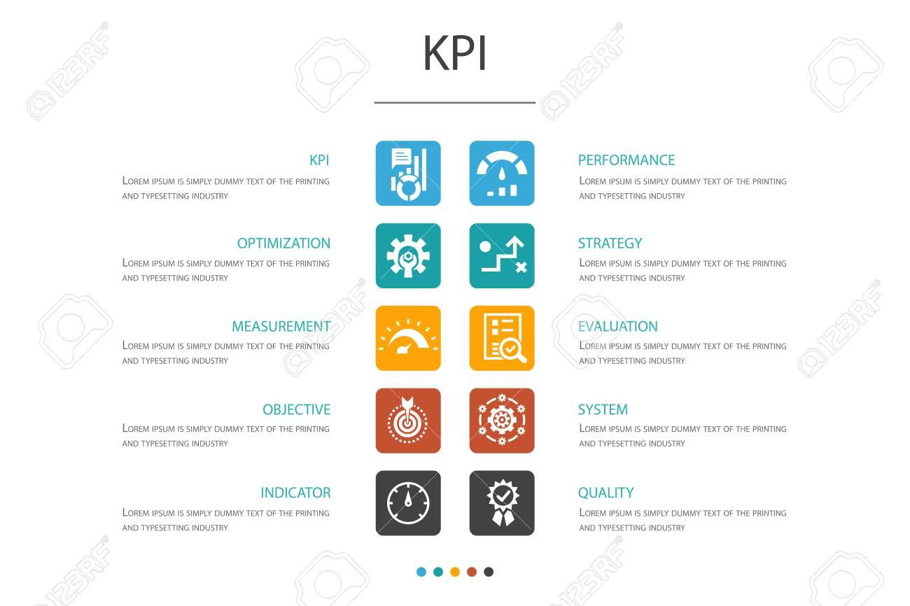 KPI Infographic 10 option concept.optimization, objective, measurement, indicator simple icons - 129192094