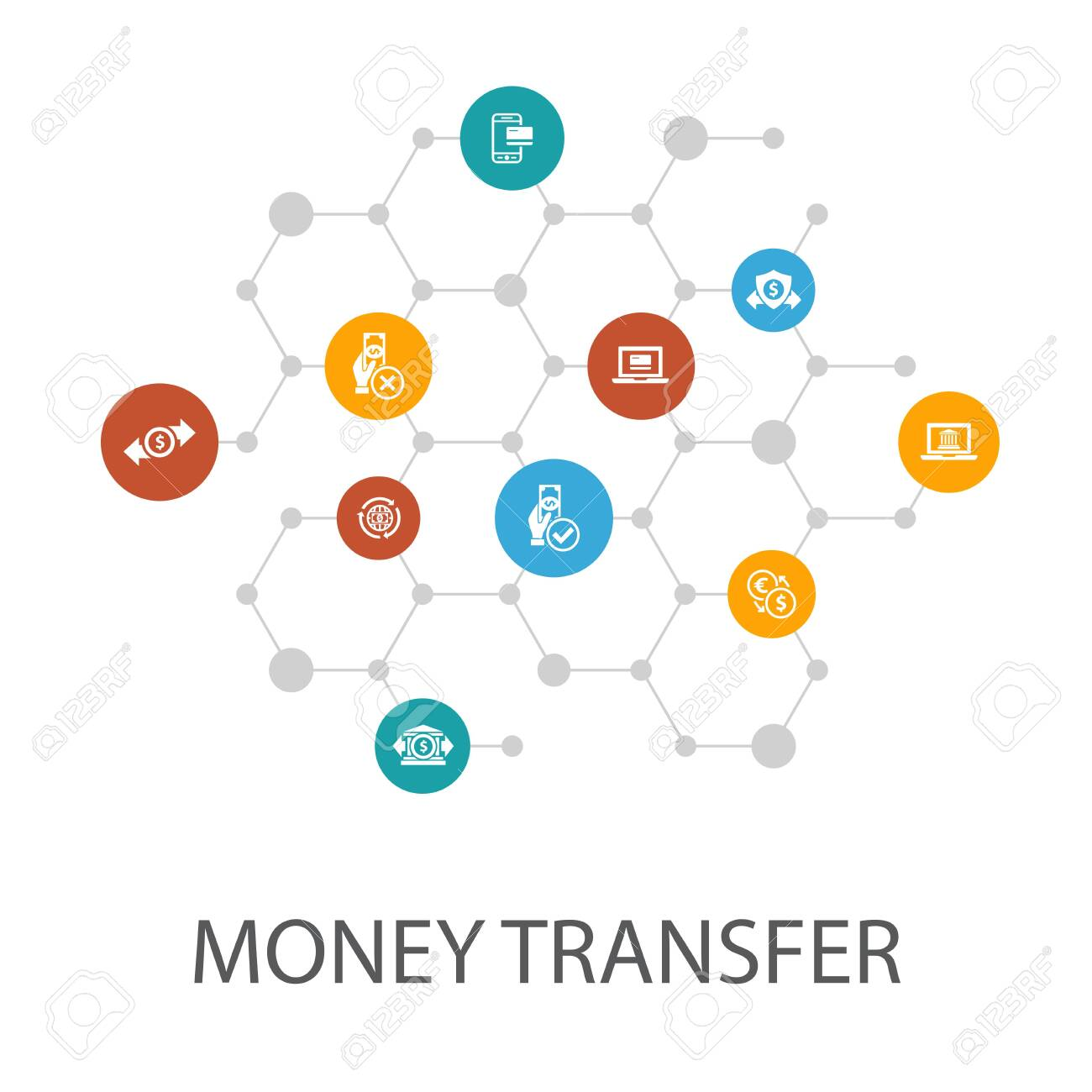 money transfer presentation template, cover layout and infographics. - 151459357