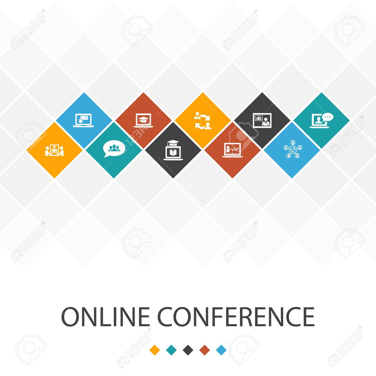 online conference trendy UI template infographics concept - 151460033