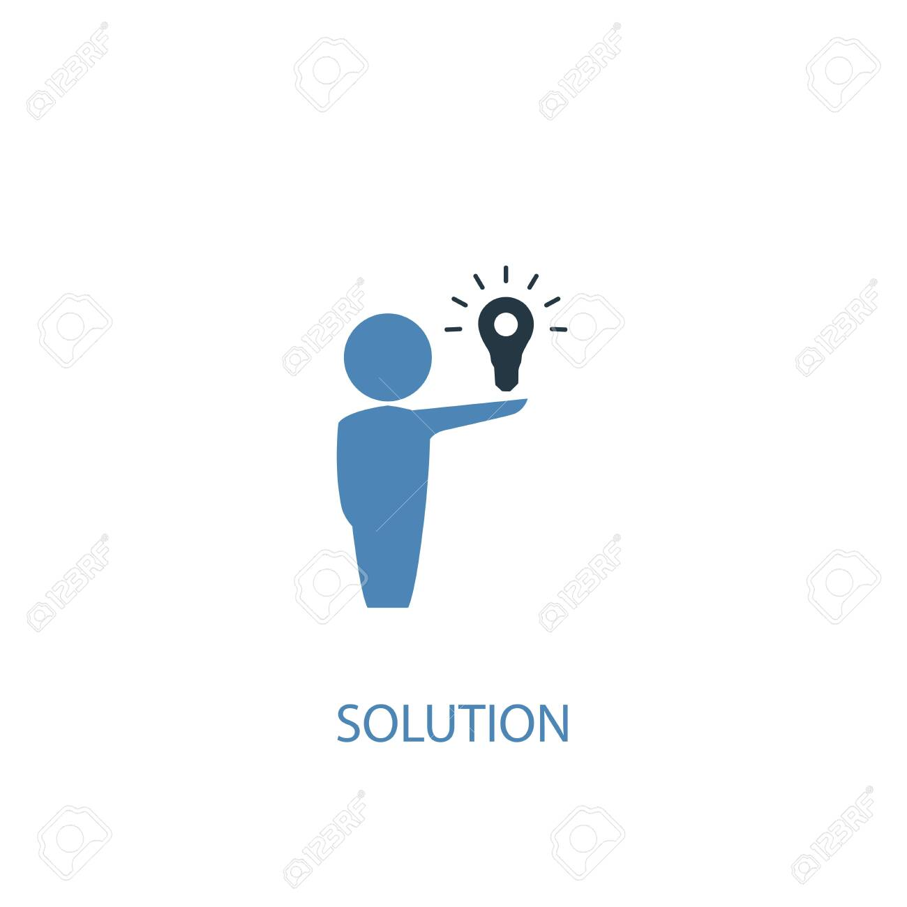 Solution concept 2 colored icon. Simple blue element illustration. Solution concept symbol design. Can be used for web and mobile - 130217567