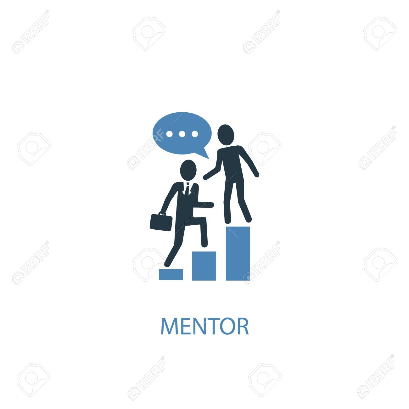 mentor concept 2 colored icon. Simple blue element illustration. mentor concept symbol design. Can be used for web and mobile - 130217571