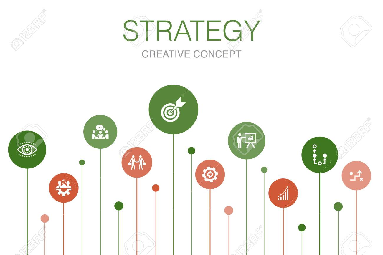 Strategy Infographic 10 steps template.goal, growth, process, teamwork icons - 130215906