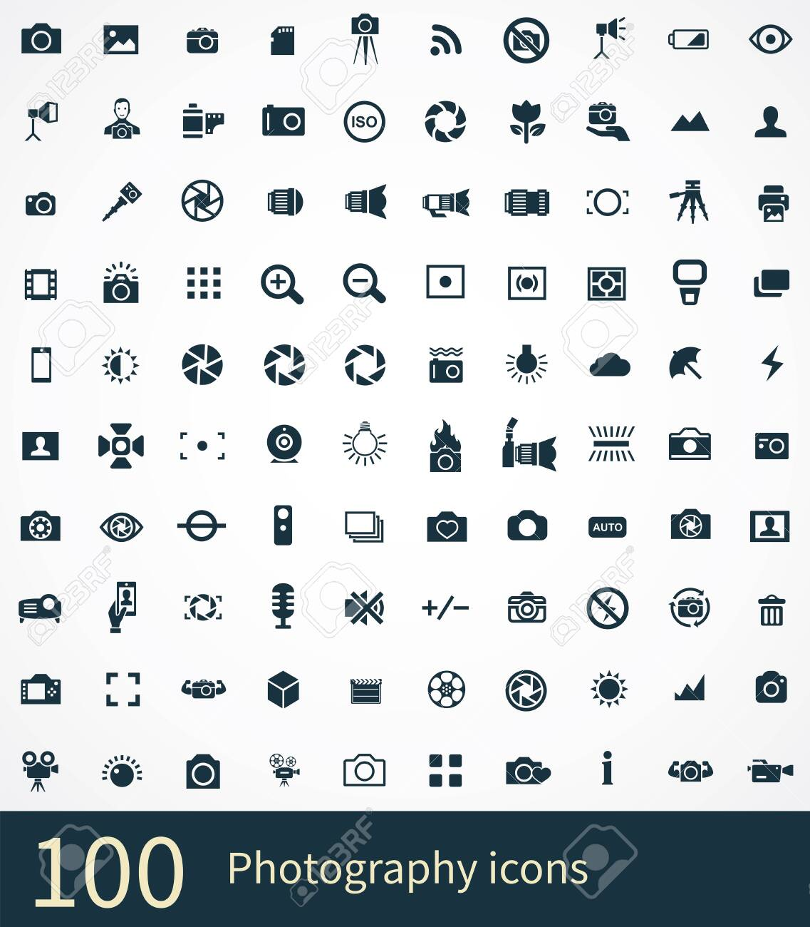 photography 100 icons universal set for web and UI - 130458016