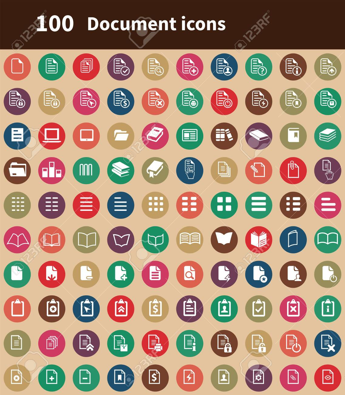 document 100 icons universal set for web and UI - 130458813