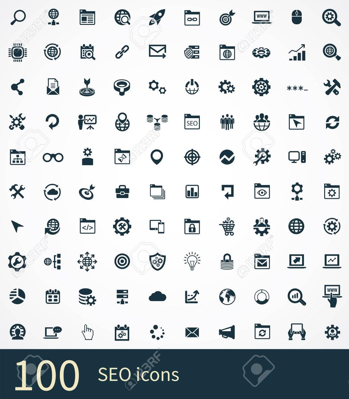 seo 100 icons universal set for web and UI. - 130777424