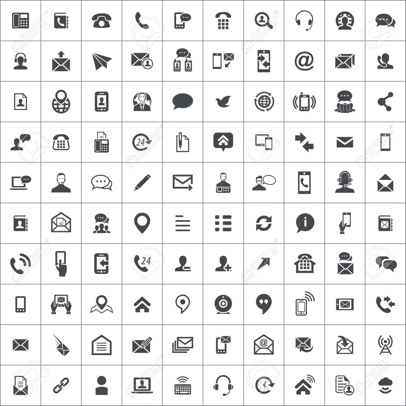 contact us 100 icons universal set for web and mobile. - 130601679