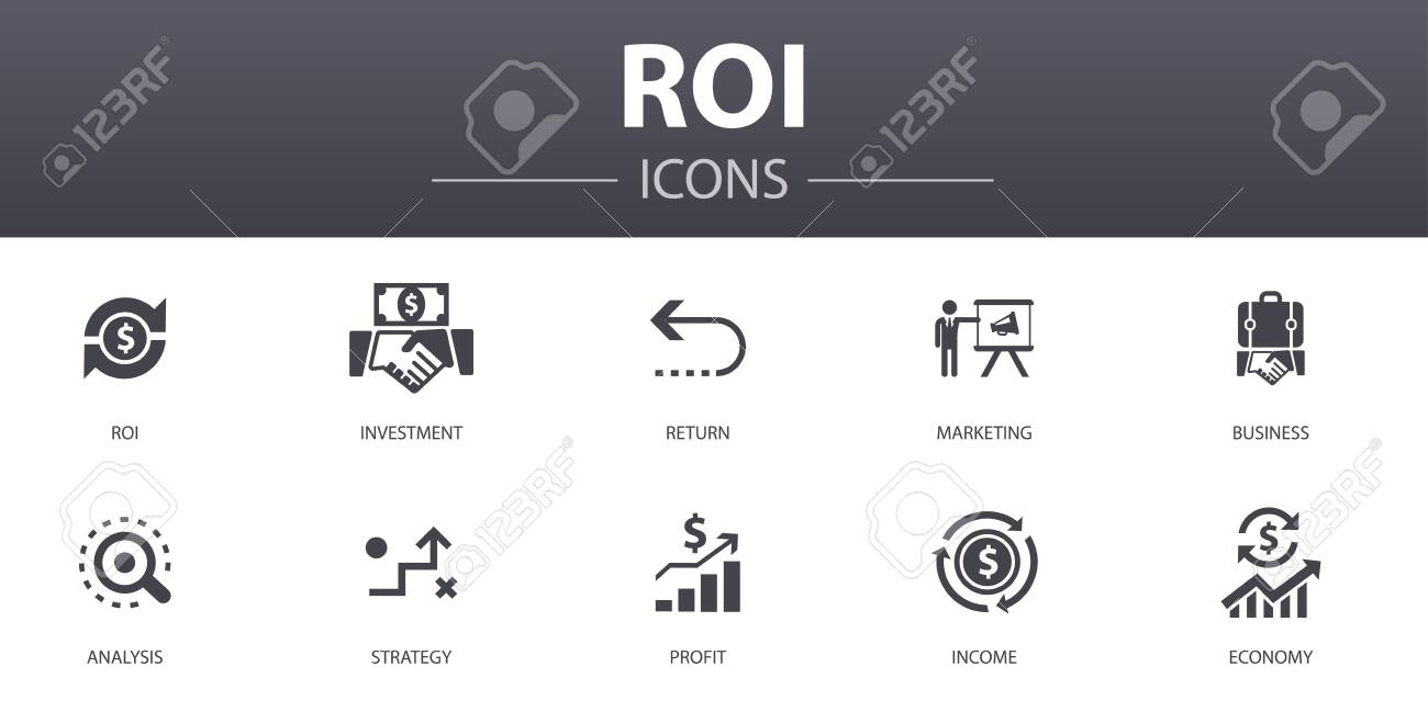 ROI simple concept icons set. Contains such icons as investment, return, marketing, analysis and more, can be used for web - 130896318