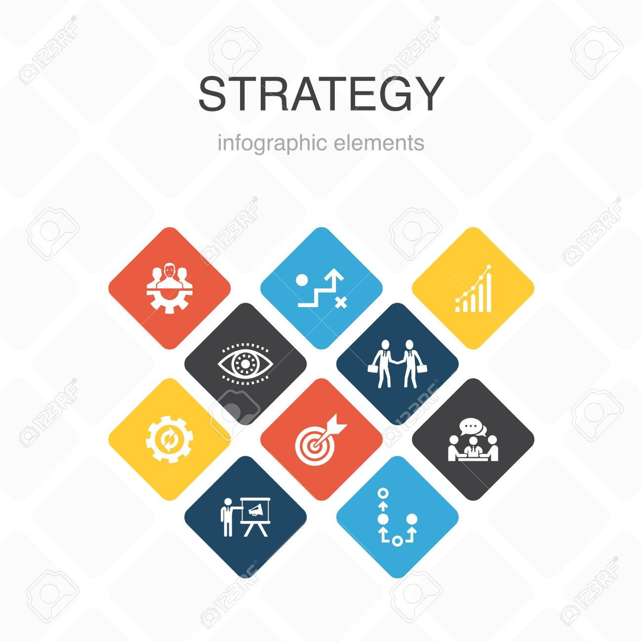 Strategy Infographic 10 option color design.goal, growth, process, teamwork simple icons - 132032632