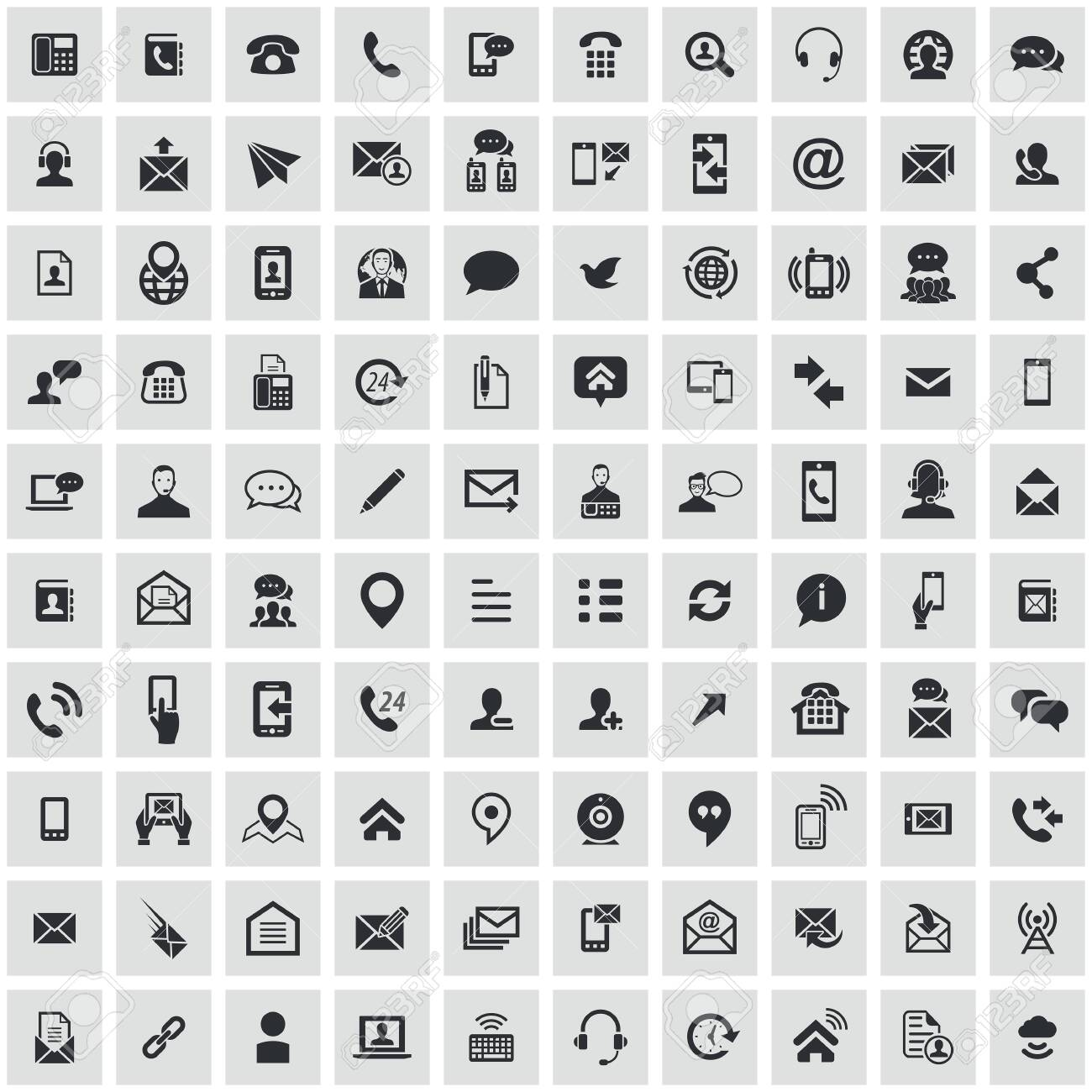 contact us 100 icons universal set for web and mobile. - 133749564