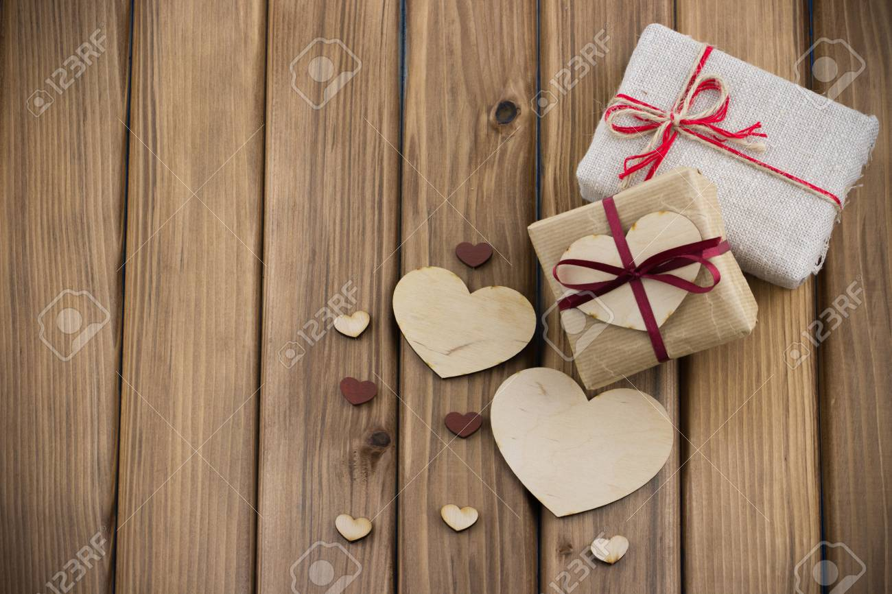 Valentines Day Concept Gift Boxes With Red Ribbon With Small