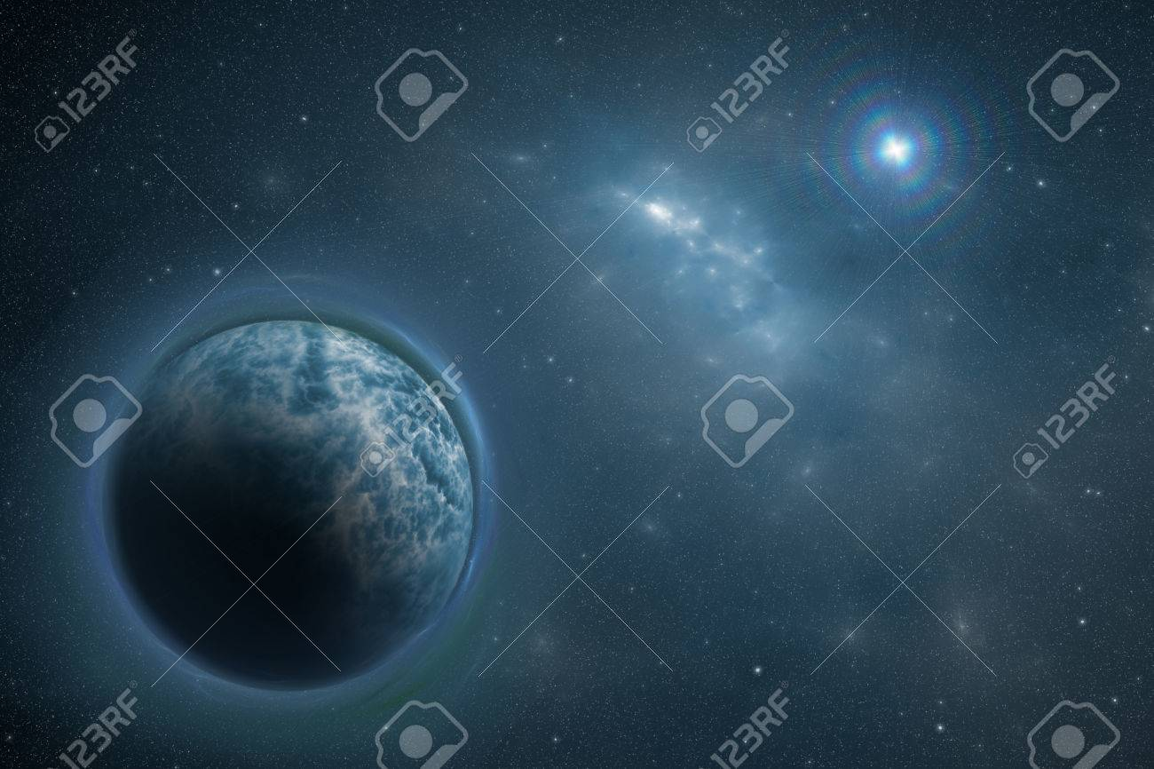 View On Illuminated Blue Cold Planet Deep In Outer Space And Stock