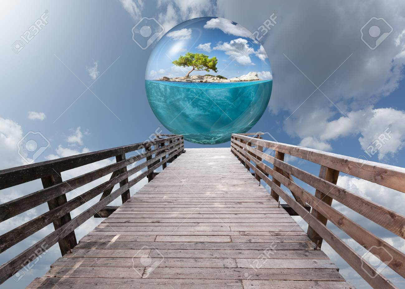 Wooden platform leading to beautiful underwater view of lone
