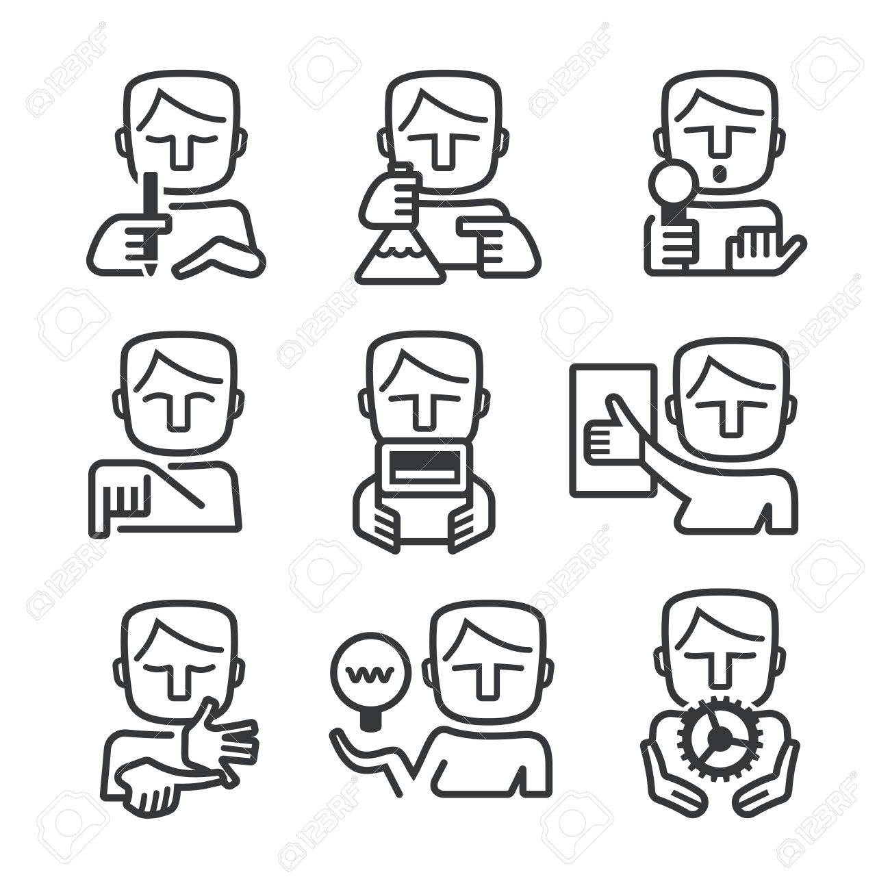 outlined icons of man showing different skills every manager outlined icons of man showing different skills every manager or leader needs stock vector 47797672
