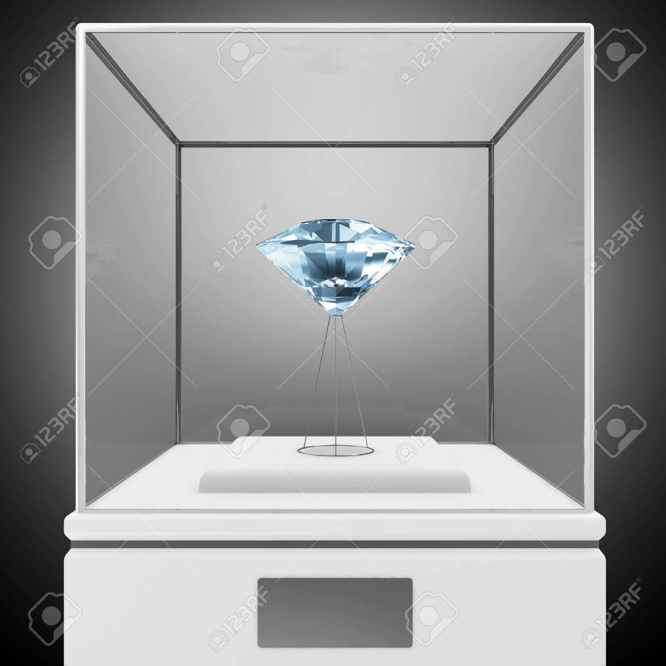 Presentation Showcase with Blue Diamond Stock Photo - 20055139