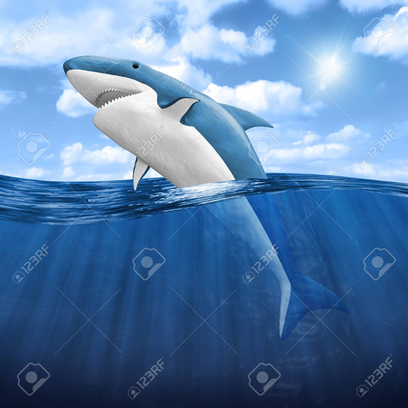 3d Shark Jumping out of water