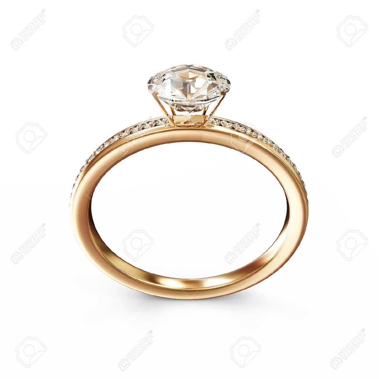 Golden Wedding Ring With Diamonds Isolated On White Background Stock