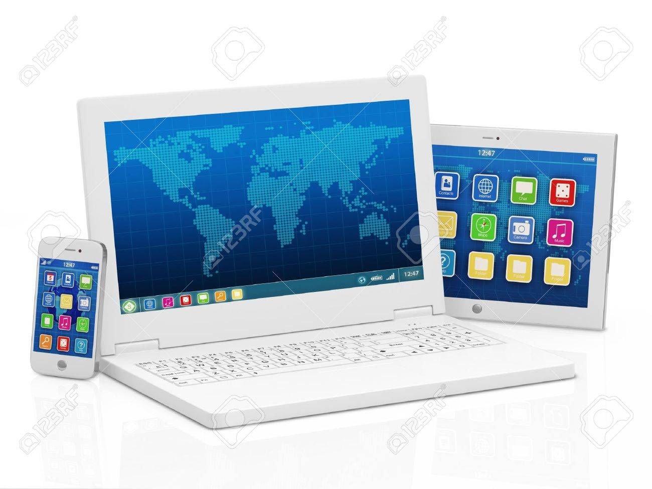 Laptop, Smart Phone And Tablet PC Isolated On White Background ...