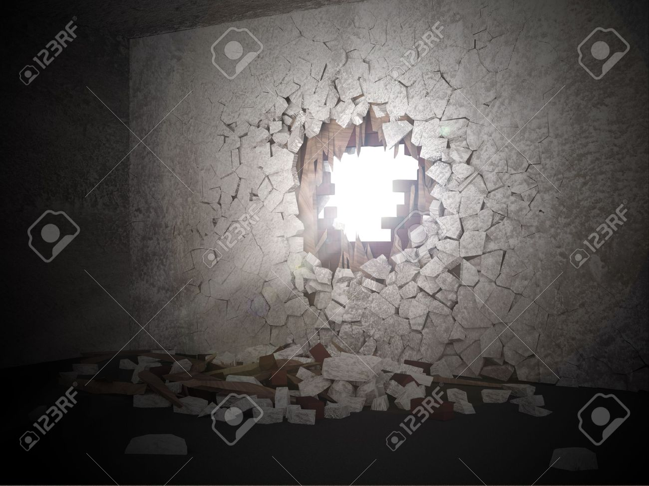 Grunge Room Interior with Sun Rays Breaking Through the Hole in the Concrete Wall Stock Photo - 20217168