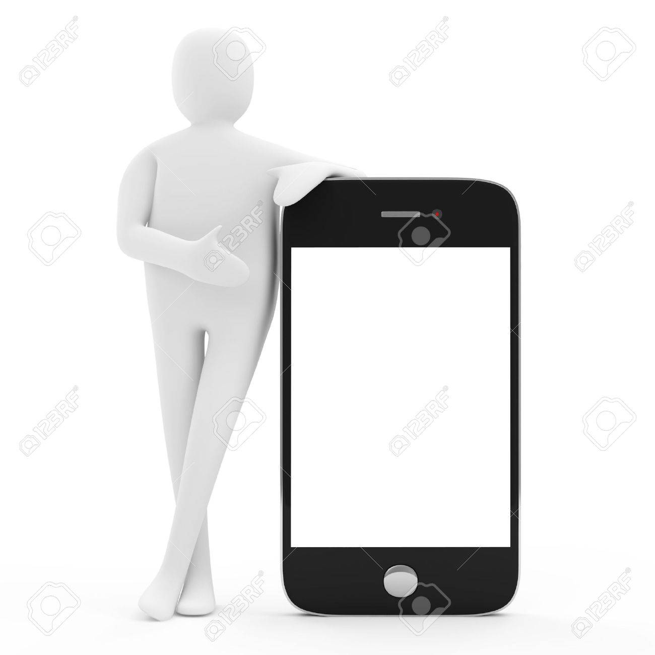 3d Man with Blank Smartphone isolated on white background Stock Photo - 20141480