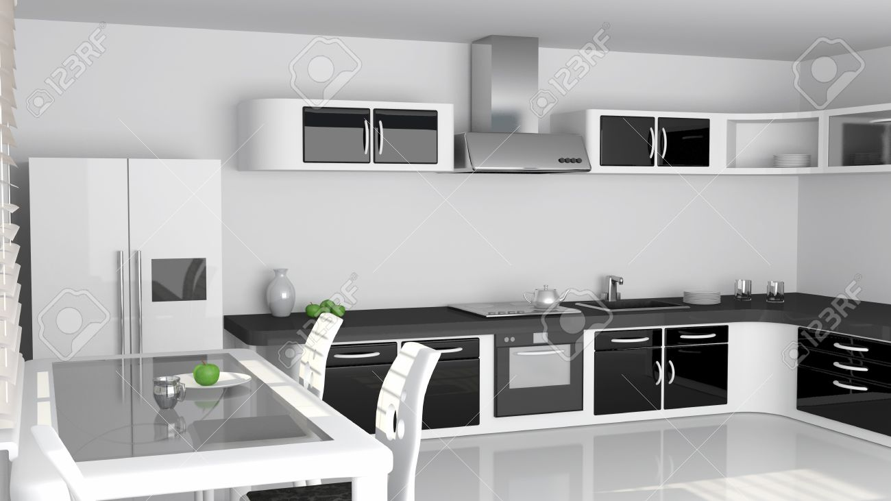Modern Kitchen Interior In White And Black Color Stock Photo
