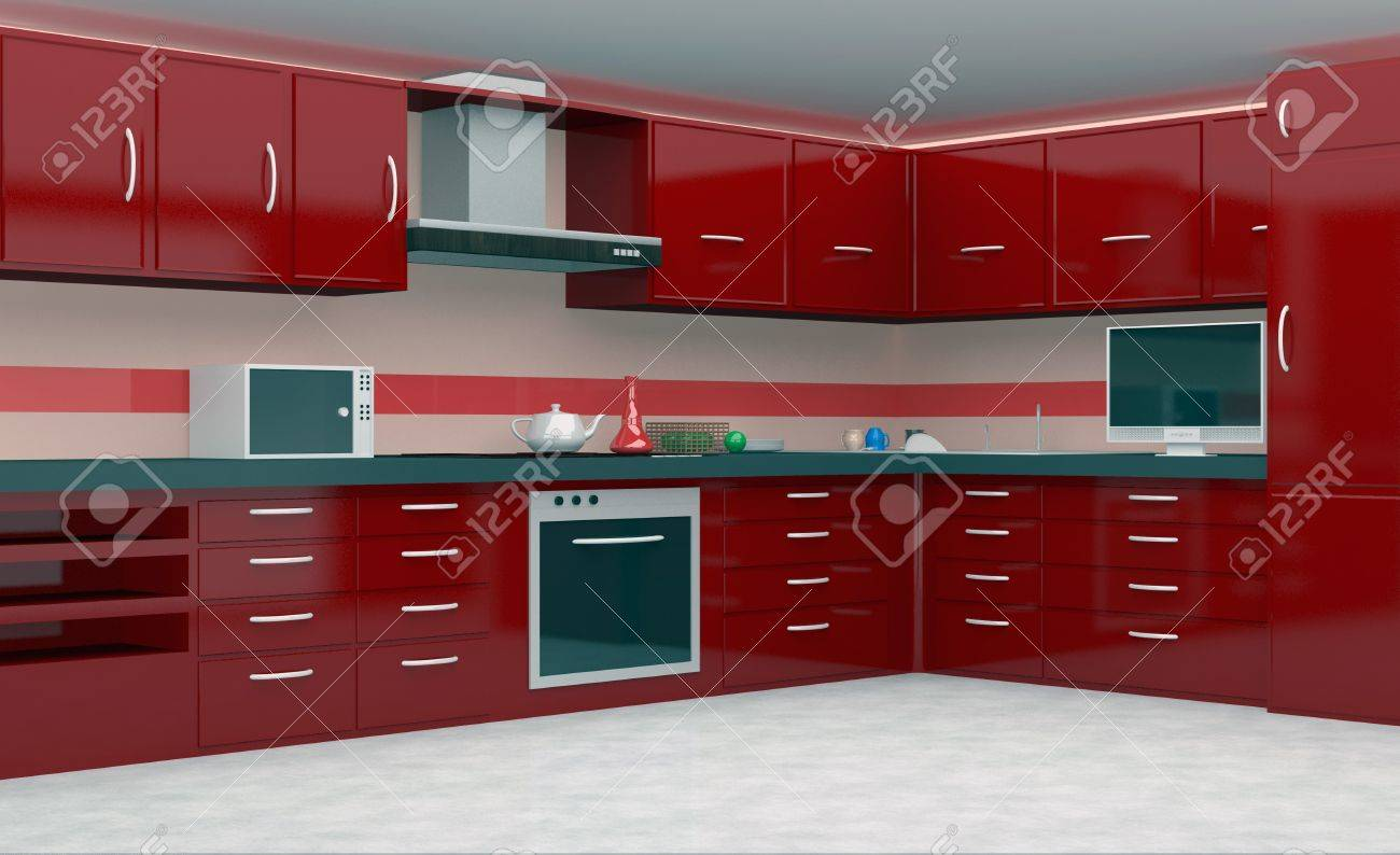 Moderne Keuken In Rode Kleur Royalty-Vrije Foto, Plaatjes, Beelden ...
