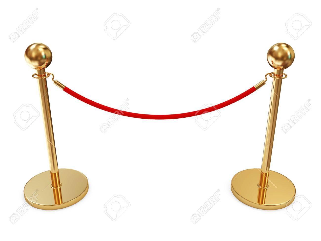 Golden Velvet Rope isolated on white background Stock Photo - 22914553