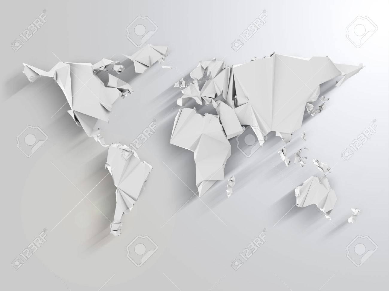 Carte Du Monde Origami.Carte Du Monde Resume En Origami Style Avec De Longues Ombres Effet