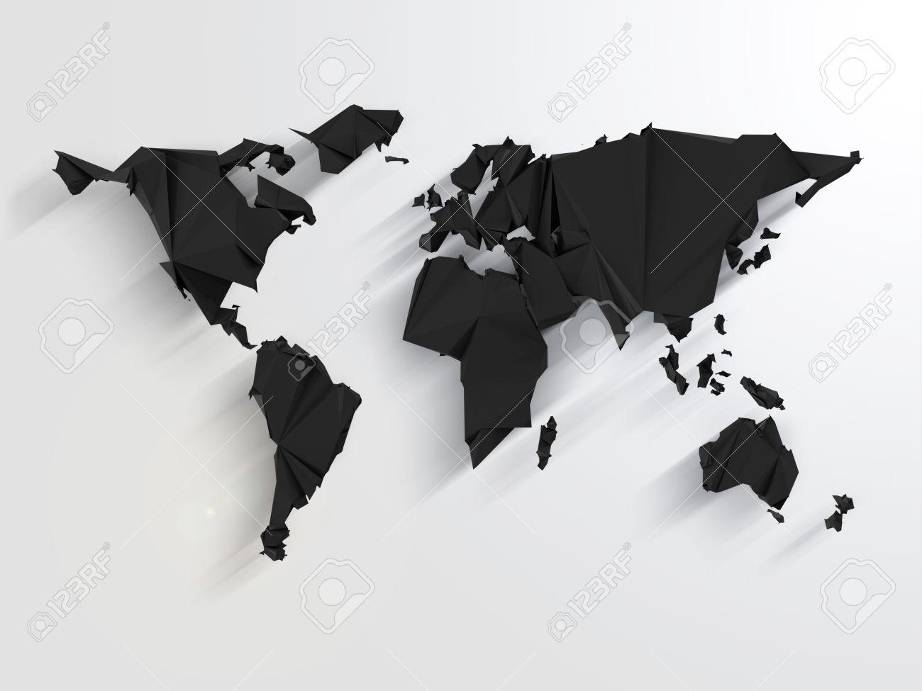 Carte Du Monde Origami.Noir Carte Du Monde Resume En Origami Style Avec De Longues Ombres
