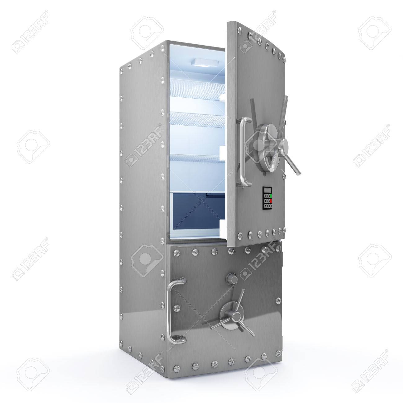 Modern Refrigerator With Opened Safe Door Isolated On White ...