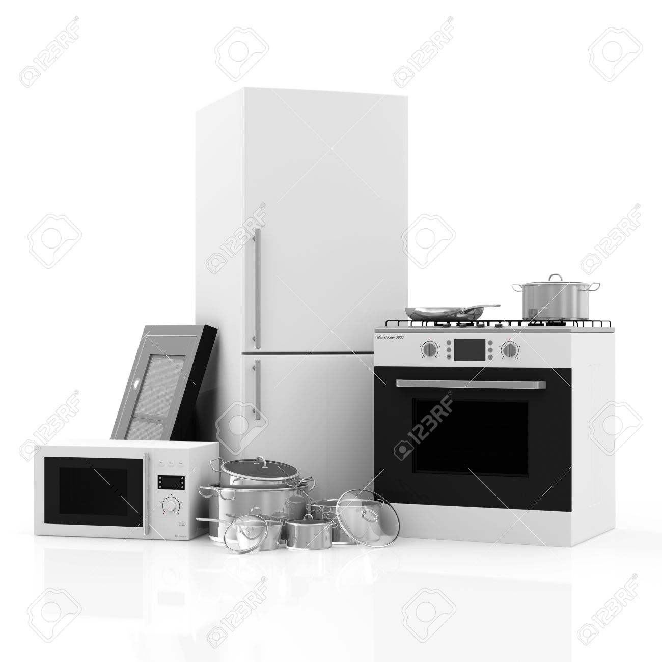 Of Kitchen Appliances Group Of Kitchen Appliances Refrigerator Gas Cooker Microwave