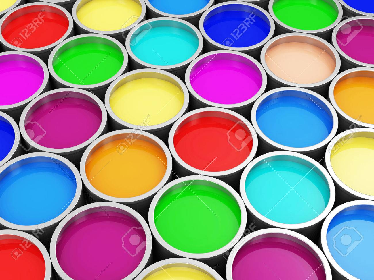 heap of colorful paint cans abstract background stock photo picture