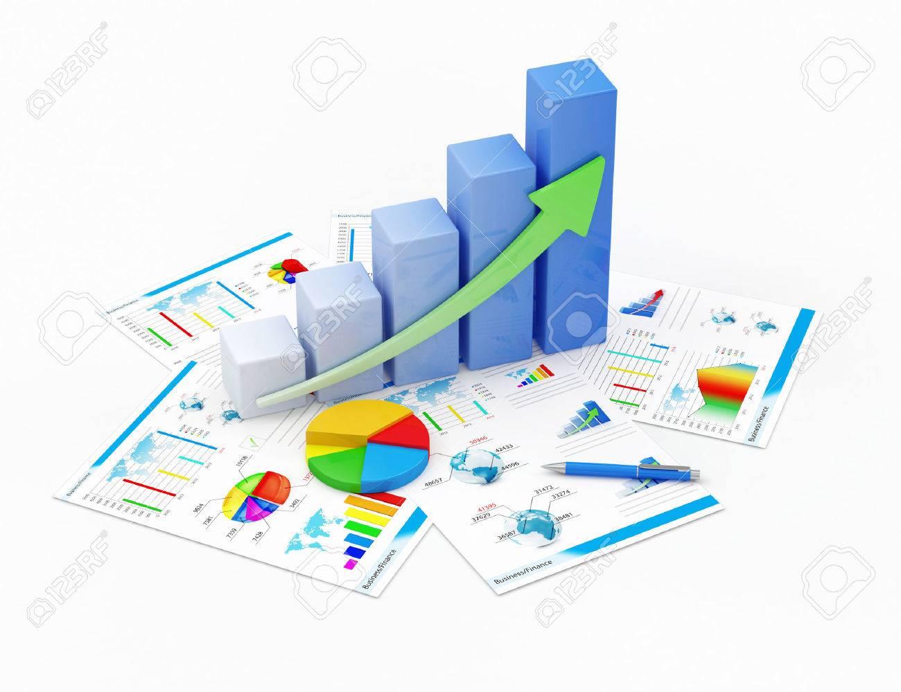 Business Financial Analytics Concept Business Graph, Pie Chart ...