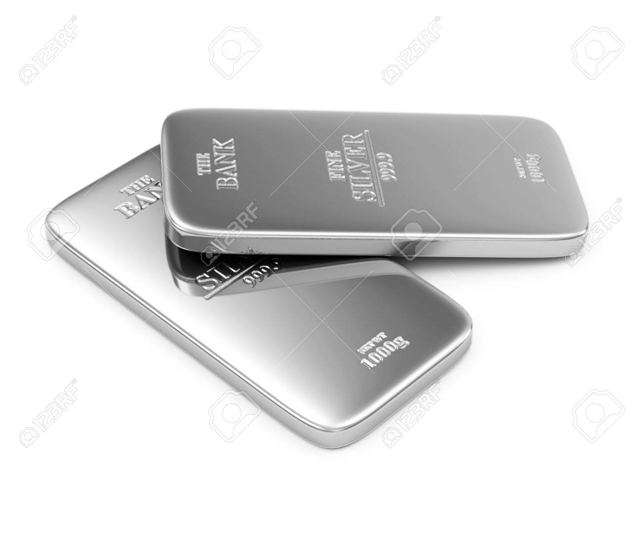 Two Flat Silver Bars isolated on white background - 29561192